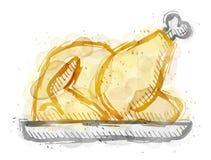 Pintura del pavo de la carne asada, pollo con efecto de la acuarela stock de ilustración