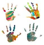 Pintura del rastro del arte del arte del color de la impresión de la mano Imagen de archivo libre de regalías