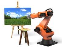 Pintura del robot industrial stock de ilustración