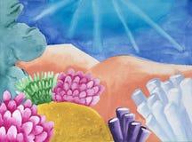 Pintura del ` s del niño en el papel de la vida subacuática del ` s imagen de archivo libre de regalías