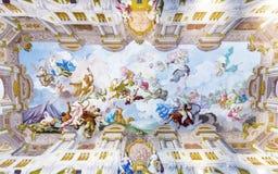 Pintura del techo en la abadía de Melk Imagen de archivo libre de regalías