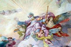 Pintura del techo en la versión religiosa Fotografía de archivo libre de regalías