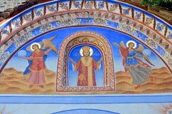 Pintura del tejado en la iglesia del monasterio de Rila Fotografía de archivo