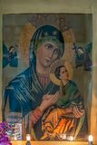 Pintura del vintage de la Virgen María con el goa de Cristo foto de archivo libre de regalías