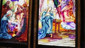 Pintura del vitral de la crucifixión del ` de Jesús en Sharm el Sheikh almacen de video
