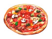 Pintura del watercolour de la pizza stock de ilustración