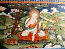 Pintura dentro de Punakha Dzong, Butão fotografia de stock