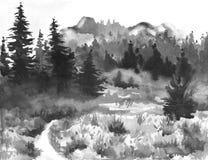Pintura dibujada mano de la acuarela de Forest Landscape taiga Fotos de archivo libres de regalías