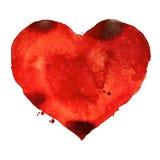 Pintura dibujada mano de la acuarela del ejemplo del corazón de la acuarela Imagen de archivo libre de regalías