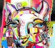 Pintura digital abstracta única del arte del retrato de la llama ilustración del vector