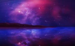Pintura digital da paisagem da ficção científica com nebulosa, planeta e lago mim ilustração royalty free