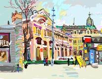 Pintura digital do ar de Plein da arquitetura da cidade - Kiev Ucrânia, contempo ilustração do vetor