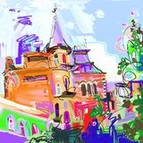 Pintura digital original del paisaje urbano de Kiev Ucrania, el bosquejar urbano libre illustration