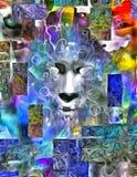 Pintura dimensional do rosto humano ilustração stock