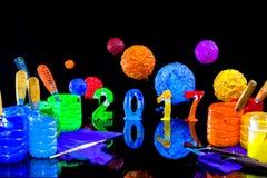 Pintura do ano novo 2017 com tinta do plastisol Imagens de Stock