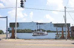 Pintura do barco a vapor, Marion Arkansas foto de stock