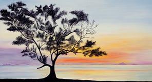 Pintura do céu & uma silhueta da árvore no por do sol ilustração stock