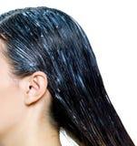 Pintura do cabelo nos cabelos foto de stock