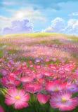 Pintura do campo de flor Fotos de Stock