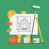 Pintura do cimento de Flip Chart Level Bricks Bucket da construção do conceito Imagem de Stock