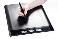 Pintura do desenhista com tabuleta digital Fotografia de Stock
