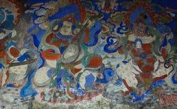 Pintura do deus na parede do templo antigo fotografia de stock royalty free