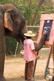 Pintura do elefante asiático fotos de stock royalty free