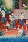 Pintura do festival tradicional da água, símbolo de passatempos tailandeses da cultura, pintura tailandesa do estilo na parede do Imagem de Stock