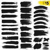 Pintura do Grunge Cursos pintados da escova Grupo da caixa de texto da textura A aflição listra fundos Bandeira tirada mão, etiqu ilustração stock