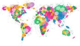 Pintura do mapa de mundo splattered Imagens de Stock Royalty Free