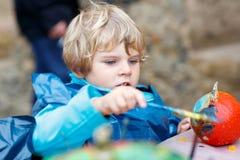 Pintura do menino da criança com cores na abóbora Imagem de Stock