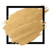 Pintura do ouro em cursos da escova do quadrado preto foto de stock