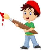 Pintura do rapaz pequeno com pincel ilustração do vetor