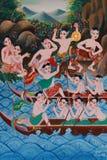 Pintura do símbolo tradicional da competência de barco de passatempos tailandeses da cultura, pintura tailandesa do estilo na par Imagens de Stock Royalty Free