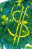 Pintura do sinal de dólar manchada no artfull de papel Imagens de Stock Royalty Free