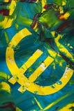 Pintura do sinal do Euro na cor fotos de stock royalty free