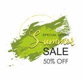 Pintura do verde da escova do Grunge na venda quadrada do verão do cartaz do curso do projeto da textura Fotos de Stock
