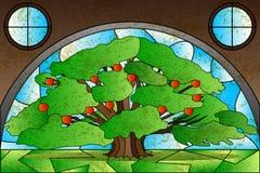 Pintura do vitral da árvore ilustração royalty free