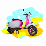 Pintura do Watercolour da motocicleta cor-de-rosa no branco Foto de Stock Royalty Free