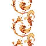 Pintura do watercolour do vetor Firebird e flores Fotos de Stock Royalty Free