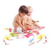 Pintura do whith das crianças Fotos de Stock