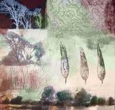 Pintura dos media misturados das árvores e das folhas Foto de Stock Royalty Free