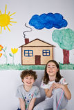 Pintura dos miúdos Imagem de Stock Royalty Free