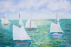 Pintura dos sailboats Fotos de Stock Royalty Free