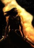 Pintura dramática de un guerrero Foto de archivo libre de regalías