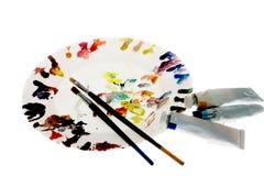Pintura e escovas do artista Imagem de Stock