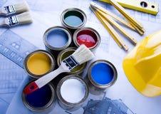 Pintura e latas Imagem de Stock