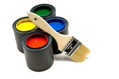 Pintura e uma escova Foto de Stock