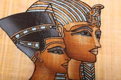 Pintura egipcia del rey en el papiro Fotografía de archivo
