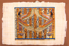 Pintura egipcia en el papiro Imagen de archivo libre de regalías